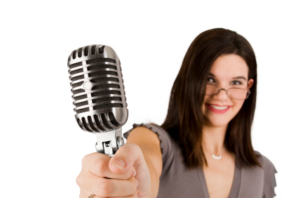 woman hold microphone